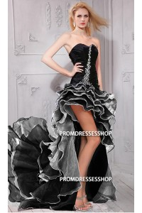 Charming High Low Black And White Organza Ruffle Tiered Prom Dress