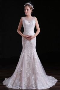 Charming Mermaid Illusion Neckline Champagne Satin Lace Wedding Dress With Buttons
