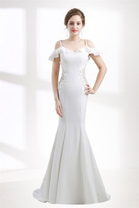 Charming Mermaid Side See Through Satin Wedding Dress With Ruffle Straps