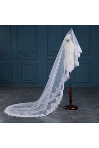 Charming One tier Tulle Lace Sequined Wedding Bridal Cathedral Veil