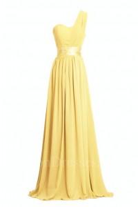Charming Sheath One Shoulder Long Yellow Chiffon Bridesmaid Dress With Sash