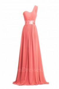 Charming Sheath One Shoulder Long Coral Chiffon Bridesmaid Dress With Sash