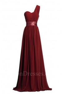 Charming Sheath One Shoulder Long Burgundy Chiffon Bridesmaid Dress With Sash