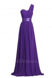 Charming Sheath One Shoulder Long Purple Chiffon Bridesmaid Dress With Sash