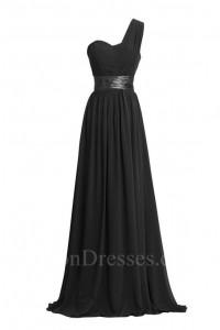 Charming Sheath One Shoulder Long Black Chiffon Bridesmaid Dress With Sash
