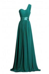 Charming Sheath One Shoulder Long Dark Green Chiffon Bridesmaid Dress With Sash