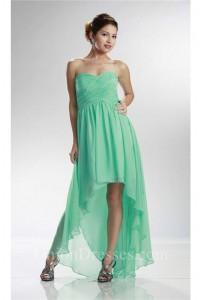 Charming Sweetheart High Low Mint Green Chiffon Prom Dress