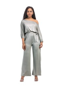 Chic Off The Shoulder Silver Jersey Jumpsuit With Sleeves