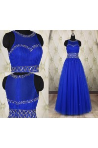 Classic A Line Scoop Neck Long Royal Blue Tulle Beaded Prom Dress