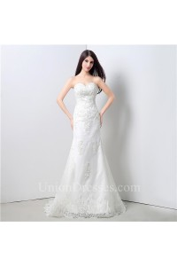 Classic Mermaid Sweetheart Tulle Lace Beaded Wedding Dress Lace Up Back