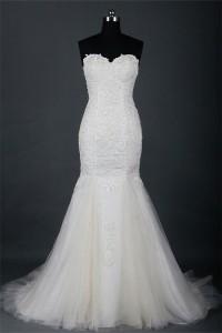 Classic Mermaid Sweetheart Tulle Lace Pearl Beaded Wedding Dress
