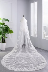 Classic One tier Tulle Lace Wedding Bridal Cathedral Veil