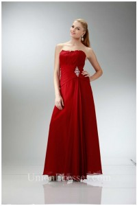 Classic Sheath Strapless Red Chiffon Mother Evening Dress Bolero Jacket