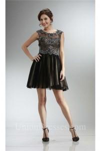 Classy Cap Sleeve Open Back Little Black Tulle Lace Prom Dress