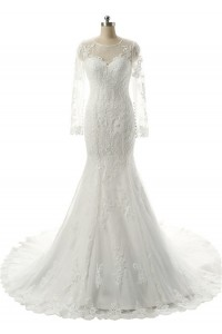 Classy Mermaid Illusion Neckline Long Sleeve Ivory Tulle Lace Wedding Dress
