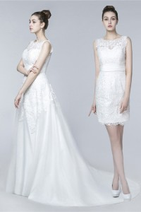 Classy Sleeveless Two In One Lace Wedding Dress With Detachable Skirt