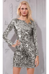 Column Boat Neck Short Mini Silver Sequin Club Prom Dress With Sleeves