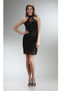Column Halter Short Black Venice Lace Beaded Prom Dress
