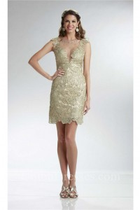 Column Illusion Neckline Cap Sleeve Short Champagne Lace Prom Dress
