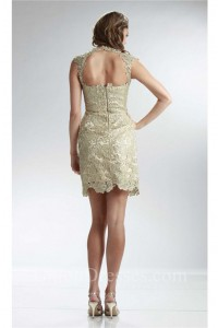 Column Illusion Neckline Cap Sleeve Short Champagne Lace Prom Dress Open Back