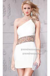 Column One Shoulder Short Mini White Jersey Panel Tulle Beaded Prom Dress