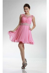Cute Cap Sleeve Open Back Short Pink Chiffon Beaded Cocktail Prom Dress