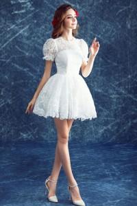 Cute High Neck Puff Sleeve Vintage Lace Short Garden Beach Wedding Dress