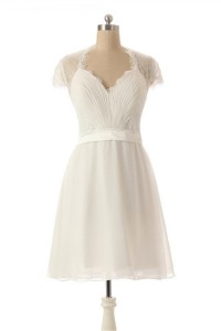 Cute Queen Annie Neckline Cap Sleeve Short Lace Chiffon Bridesmaid Party Dress