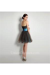 Cute Short Mini Brown Tulle Peacock Applique Beaded Tutu Prom Dress Corset Back