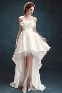 Cute Strapless Flower Neckline Satin High Low Outdoor Destination Wedding Dress