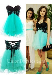 cute strapless short black and aqua tulle prom dress