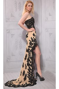 Cute Strapless Sweetheart High Low Black Lace Prom Dress