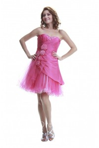 Cute Sweetheart Short Hot Pink Taffeta Tulle Cocktail Prom Dress With Flowers