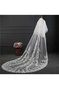 Cute Two tier Tulle Lace Wedding Bridal Cathedral Veil With Comb