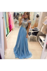 Elegant A Line High Neck Cap Sleeve Long Sky Blue Chiffon Beaded Prom Dress