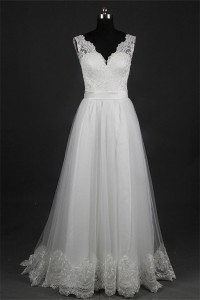 Elegant A Line Scalloped Neck Backless Tulle Lace Beach Wedding Dress With Sash