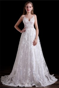 Elegant A Line Sweetheart Low Back Spaghetti Straps Lace Wedding Dress