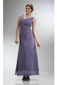 Elegant Asymmetrical Long Gray Chiffon Ruched Bridesmaid Evening Dress