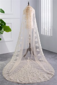 Elegant Champagne Tulle Lace Sequined Wedding Bridal Cathedral Veil