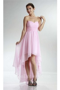 Elegant High Low Sweetheart Light Pink Chiffon Prom Dress