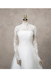Elegant High Neck Long Sleeve Vintage Lace Wedding Bridal Jacket