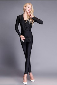Elegant Long Sleeve Black Jersey Formal Occasion Evening Jumpsuit