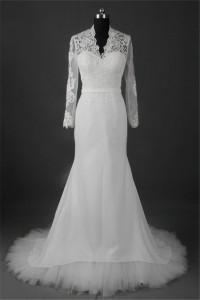 Elegant Mermaid Scalloped Neck Long Sleeve Tulle Lace Chiffon Wedding Dress