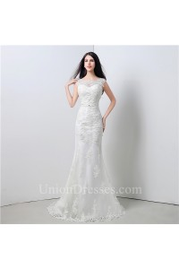Elegant Mermaid Scoop Neck V Back Cap Sleeve Lace Wedding Dress With Sash Bow