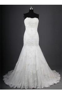 Elegant Mermaid Strapless Tulle Lace Beaded Corset Wedding Dress Court Train
