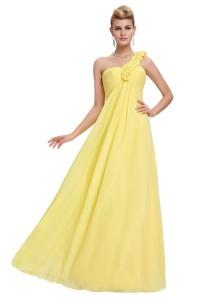 Elegant One Shoulder Empire Waist Long Yellow Chiffon Bridesmaid Dress