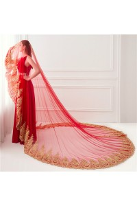 Elegant Red Tulle Gold Lace Wedding Bridal Cathedral Veil