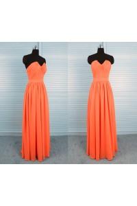 Elegant Sheath Strapless Long Orange Chiffon Draped Bridesmaid Dress With Sash