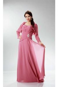 Elegant Sheath Strapless Rose Chiffon Ruched Mother Evening Dress Bolero Jacket