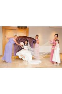 Elegant Sheath V Neck Long Lavender Chiffon Ruched Bridemsaid Dress With Sash